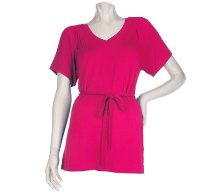 """As Is"" Motto V-neck Smocked Top with Braided Belt"