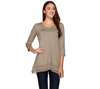 """As Is"" LOGO Lounge by Lori Goldstein French Terry Top w/Chiffon - A277127"