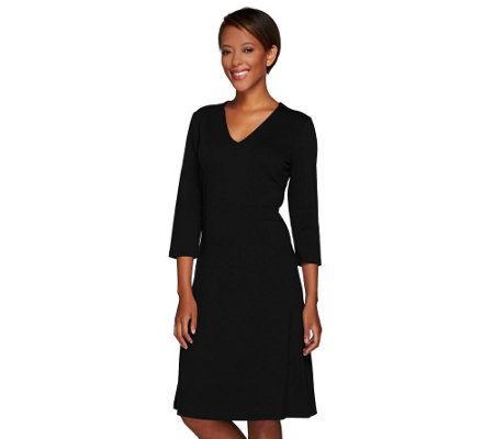 """As Is"" Liz Claiborne New York V-Neck Ponte Knit Dress"
