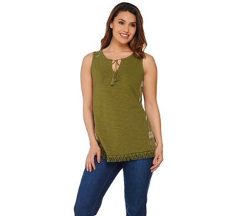 C. Wonder Sleeveless Knit Top with Embroidered Side Panels - A277527