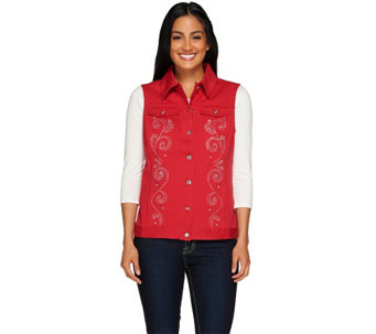 """As Is"" Quacker Factory Sparkle and Shine Twill Vest - A278127"