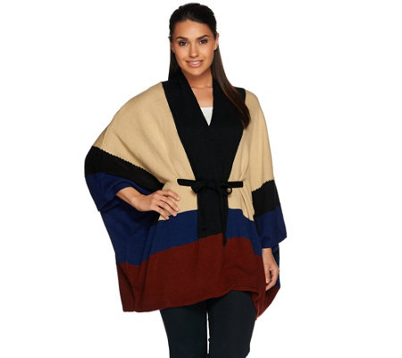 C. Wonder Color Block Belted Knit V-neck Poncho
