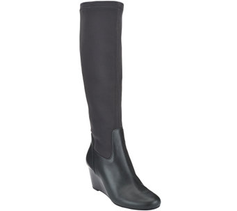 """As Is"" Isaac Mizrahi Live! Leather and Stretch Fabric Wedge Boots - A280427"