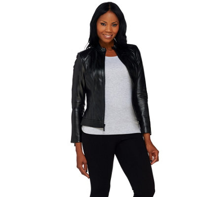 """As Is"" G.I.L.I. Zip Front Leather Jacket with Seaming Detail"