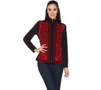 Susan Graver Liquid Knit Zip Front Long Sleeve Top - A282927