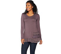 LOGO by Lori Goldstein Knit Top with Tiered Trim Detail - A283027