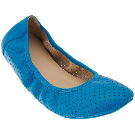 """As Is"" Adam Tucker Leather Perforated Ballet Flats - Napa"