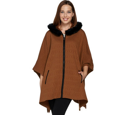 Dennis Basso Zip Front Knit Poncho with Faux Fur Trim