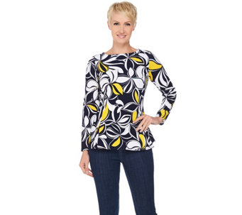 Susan Graver Printed Textured Knit Long Sleeve Top w/ Back Zipper - A285427