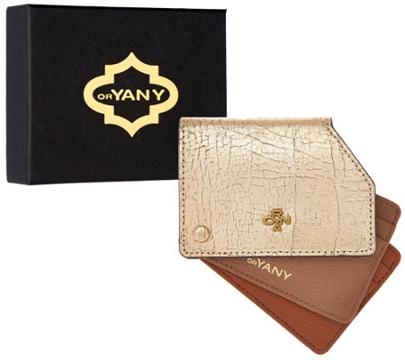orYANY Pebble Leather Metallic RFID Credit Card Holder-Liam