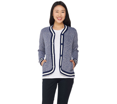 C. Wonder Button Front Marled Sweater Cardigan with Striped Ribbing
