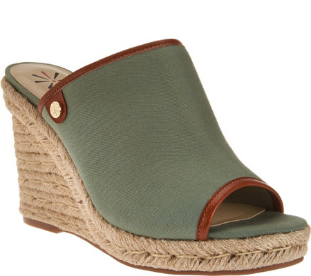 """As Is"" Isaac Mizrahi Live! TRUE DENIM Espadrille Wedge Mules"