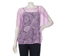 """As Is"" George Simonton Bateau Neck Split Sleeve Lace Top with Tank - A287427"