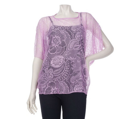 """As Is"" George Simonton Bateau Neck Split Sleeve Lace Top with Tank"