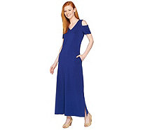 Denim & Co. V Neckline Short Sleeve Cold Shoulder Maxi Dress - A288727