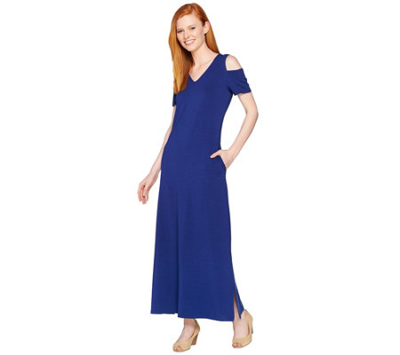 Denim & Co. V Neckline Short Sleeve Cold Shoulder Maxi Dress