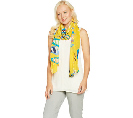 Denim & Co. Sail Boat Printed Scarf