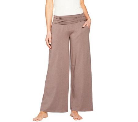 AnyBody Loungewear Cozy Knit Foldover Wide Leg Pants