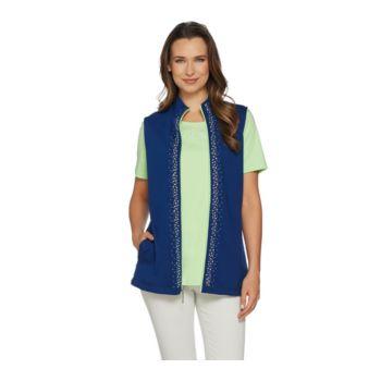 Quacker Factory Color Contrast Vest and Short Sleeve T-shirt Set