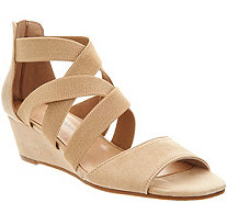 Isaac Mizrahi Live! Stretch Cross Band Wedge Sandal - A291327