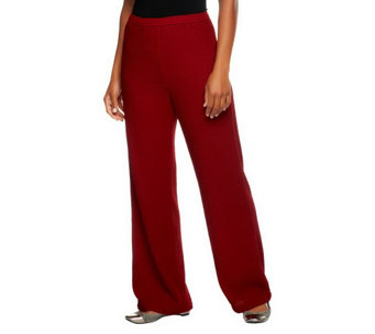 """As Is"" Bob Mackie's Reg. Fit Elastic Waist Crinkle Knit Pants - A291427"