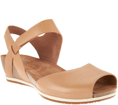 """As Is"" Dansko Leather Peep-toe Sandals - Vera"