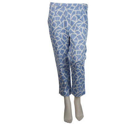 """As Is"" Bob Mackie's Giraffe Print Pique Cropped Pants"