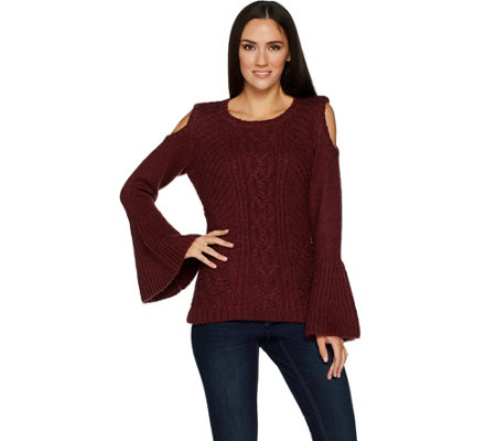 G.I.L.I. Cold Shoulder Cable Knit Sweater