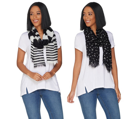 Isaac Mizrahi Live! Set of 2 Stripe and Polka Dot Scarves