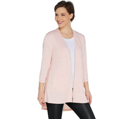 H by Halston Knit Zip Front Cardigan with Side Slits