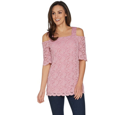 Susan Graver Stretch Lace Off the Shoulder Top