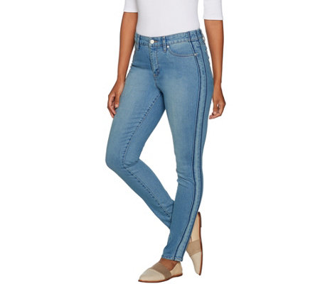 Martha Stewart Regular Ankle Jeans with Tuxedo Stripe Panel