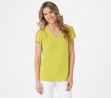 Susan Graver Liquid Knit Split-Sleeve Top - A304027