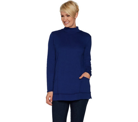 """As Is"" Denim & Co. Essentials Mock Neck Knit Tunic with Pockets"