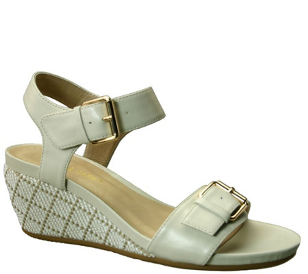 David Tate Leather Wedge Sandals - Touch
