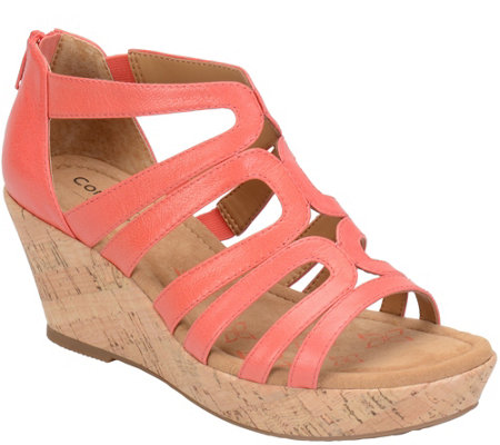 Comfortiva by Softspots Leather Caged Wedge Sandals - Redmond