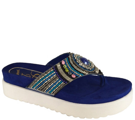 J. Renee Beaded Platform Thong Sandals - Fantina