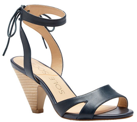 Sole Society Leather Cone Heel Sandal - Milla