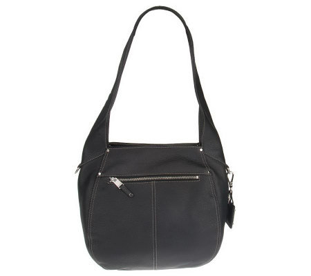 Tignanello Soft Pebble Leather Hobo Bag with Outside Pockets