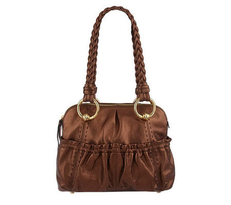 B.Makowsky Glove Leather Medium Zip Top Satchel with Braided Straps