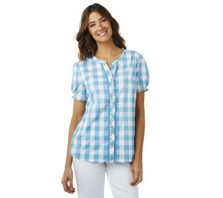 Denim & Co. Short Sleeve V-neck Plaid Woven Shirt