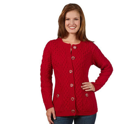 Aran Craft Merino Wool Button Front Cable Knit Cardigan