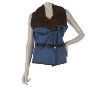 LOGO by Lori Goldstein Faux Shearling Vest with Zipper Detail - A220028
