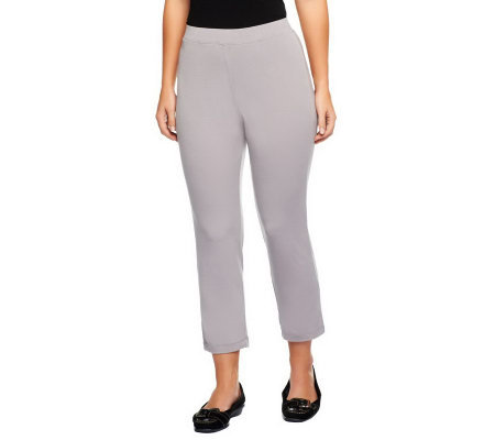 Susan Graver Essentials Liquid Knit Slim Leg Crop Pants