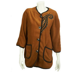Bob Mackie's Fleece Jacket with Contrast Trim and Embroidery - A228628