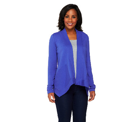 Susan Graver Weekend Brushed French Terry Cascade Front Cardigan