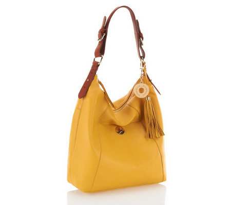 Isaac Mizrahi Live! Bridgehampton Leather Hobo with Turnlock