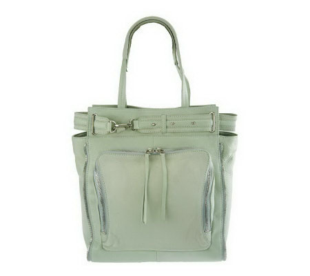 """As Is"" Kelsi Dagger Draco Leather North/ South Tote with Buckle Detail"