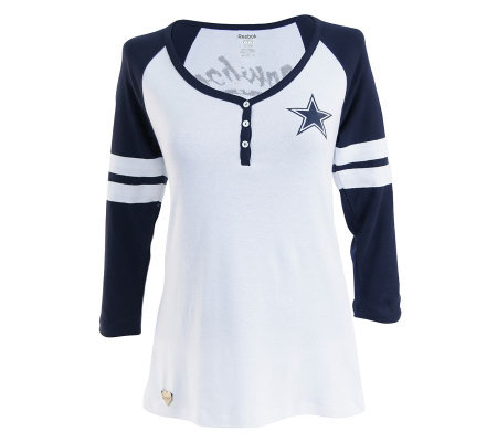 bf4ee3231b4 ... T-shirt NFL Dallas Cowboys Womens Plus Size 34 SleeveRib Henley Top ...