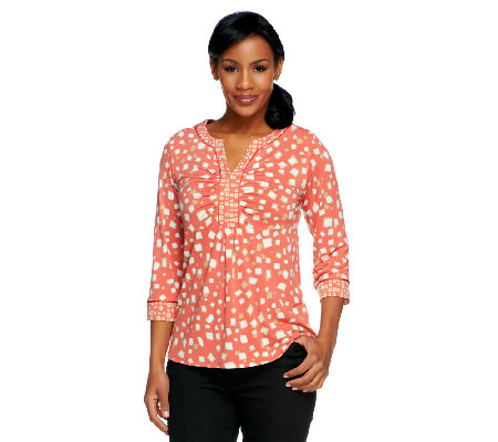 Susan Graver Liquid Knit Printed Y-Neck Top with Satin Trim